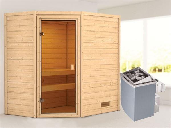 Karibu Woodfeeling Sauna Jella mit 9 kW Ofen integr. Strg 38 mm