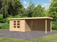 Karibu Woodfeeling Gartenhaus Askola 5 mit Anbaudach 2,8 m, Rückwand