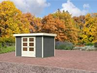 Karibu Aktions-Gartenhaus Jever 4 terragrau inkl. Fußboden