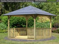Karibu 4-Eck Pavillon Eco Cordoba mit Brüstung Set