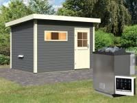 Karibu Saunahaus Suva 2 in terragrau 38 mm mit 9 kW Bioofen Ext. Strg