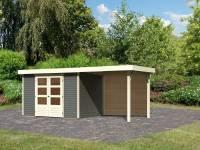 Karibu Woodfeeling Gartenhaus Askola 4 mit Anbaudach 2,4 Meter, Rückwand, terragrau