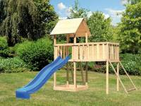 Akubi Spielturm Lotti natur mit Anbauplattform XL, Netzrampe und Rutsche blau