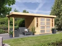 Karibu Gartenhaus Mühlendorf 4 natur 19 mm mit Anbaudach 2,60 m