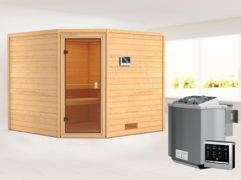 Karibu Sauna Dalia mit 9 kW Bioofen ext. Strg 38 mm