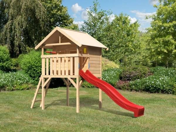 Akubi Spielhaus Leni mit Rutsche in rot und Spielset
