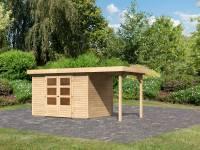 Karibu Woodfeeling Gartenhaus Askola 4 mit Anbaudach 1,5 Meter