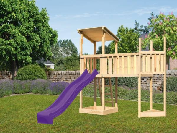 Akubi Spielturm Anna +Rutsche violett + Anbauplattform XL + Schiffsanbau oben