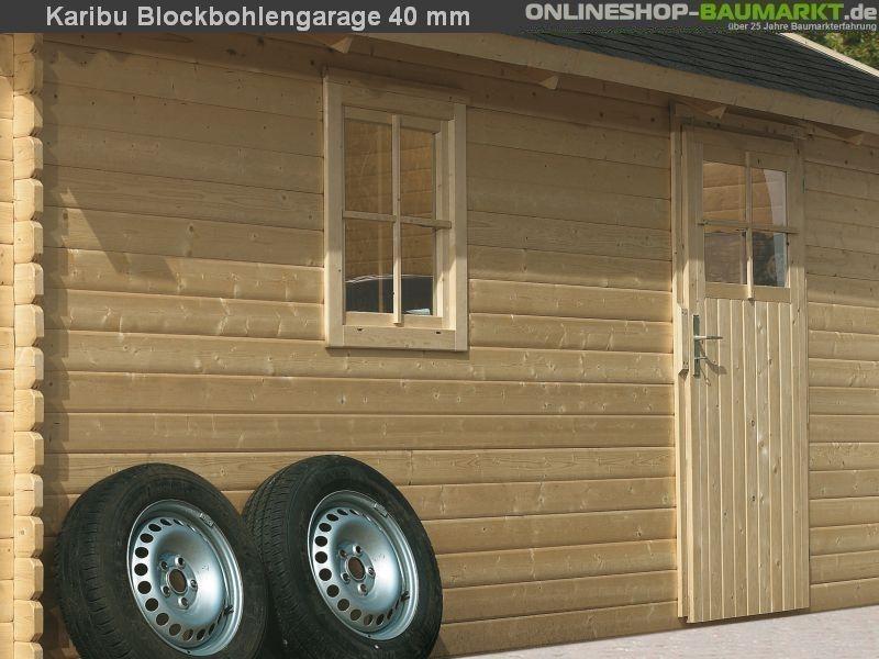 karibu blockbohlengarage 40 mm natur sch nes karibu. Black Bedroom Furniture Sets. Home Design Ideas