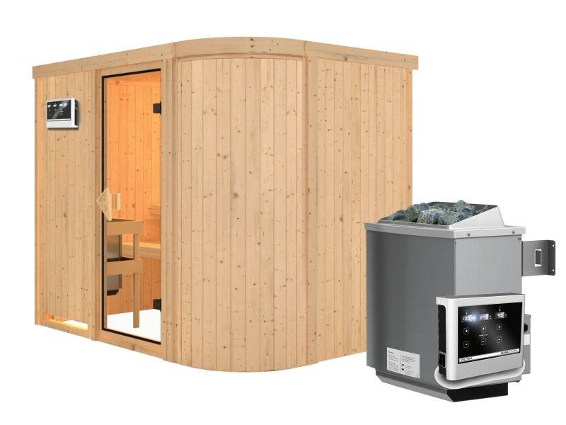 karibu elementsauna titania 4 68 mm fronteinstieg exklusive optik ecksauna mit rundecke. Black Bedroom Furniture Sets. Home Design Ideas