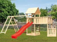 Akubi Spielturm Lotti + Schiffsanbau unten + Anbauplattform XL + Doppelschaukel mit Klettergerüst + Kletterwand + Rutsche rot