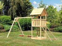 Akubi Spielturm Lotti mit Doppelschaukel und Netzrampe