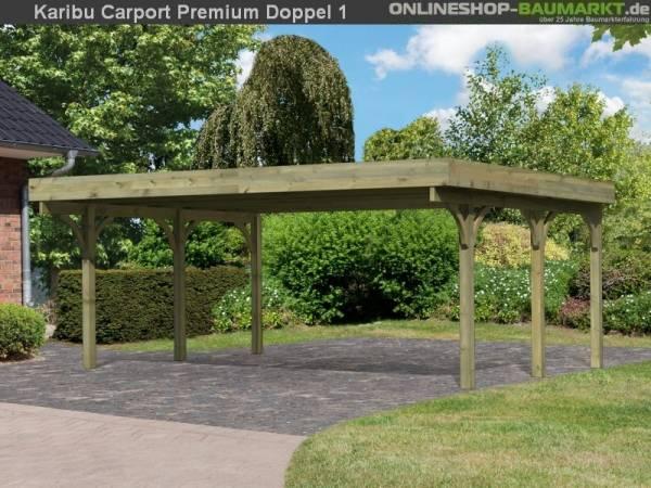 Karibu Carport Premium Doppel 1 ohne Einfahrtsbogen kdi