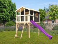 Akubi Stelzenhaus Benjamin terragrau mit Netzrampe und Rutsche in violett