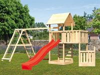 Akubi Spielturm Lotti + Schiffsanbau unten + Anbauplattform + Kletterwand + Doppelschaukel mit Klettergerüst + Rutsche rot