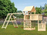Akubi Spielturm Lotti + Schiffsanbau unten + Anbauplattform + Kletterwand + Doppelschaukel mit Klettergerüst