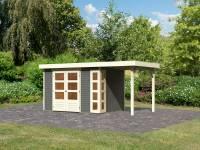 Karibu Woodfeeling Gartenhaus Kerko 4 terragrau mit Anbaudach 1,5 m