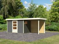 Karibu Woodfeeling Gartenhaus Oburg 4 terragrau mit Anbaudach 2,4 Meter inkl. Rückwand