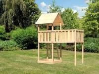 Akubi Spielturm Lotti natur mit Anbauplattform XL