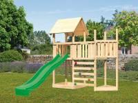 Akubi Spielturm Lotti Satteldach + Schiffsanbau oben + Anbauplattform + Kletterwand + Rutsche in grün