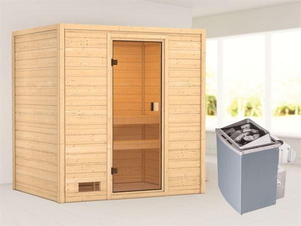 Karibu Sauna Selena mit 9 kW Ofen integr. Strg 38 mm