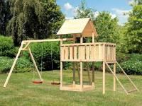 Akubi Spielturm Lotti natur mit Anbauplattform, Netzrampe und Doppelschaukel