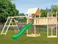 Akubi Spielturm Lotti Satteldach + Schiffsanbau oben + Doppelschaukel mit Klettergerüst + Anbauplattform XL + Rutsche in grün