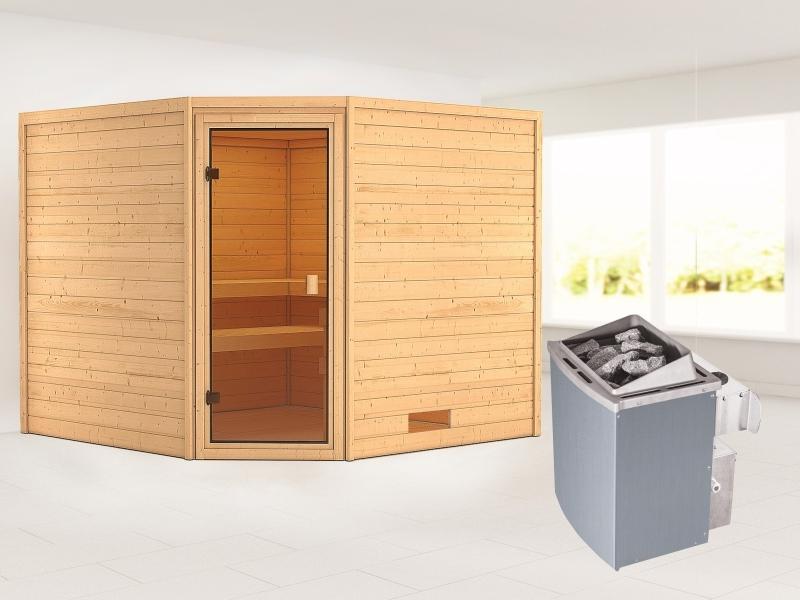 Karibu Sauna Dalia mit 9 kW Ofen integr. Strg 38 mm