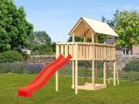 Akubi Spielturm Danny Satteldach + Rutsche rot + Anbauplattform