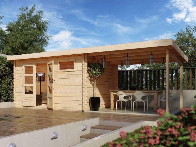 karibu woodfeeling gartenhaus bastrup 8 blockbohlenhaus. Black Bedroom Furniture Sets. Home Design Ideas