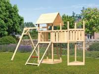 Akubi Spielturm Lotti Satteldach + Schiffsanbau oben + Anbauplattform + Einzelschaukel + Netzrampe
