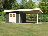 Karibu Gartenhaus Moosburg 3 terragrau mit Anbaudach 3 m