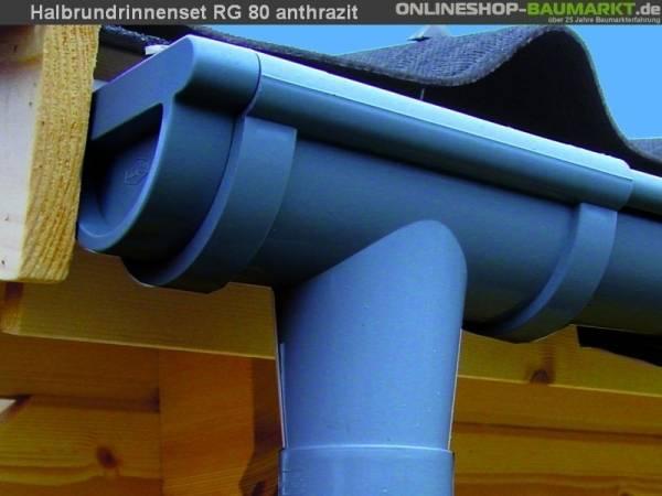 Dachrinnen Set RG 80 anthrazit 350 cm zweiseitig