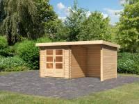 Karibu Woodfeeling Gartenhaus Bastrup 2 mit Schleppdach 2 Meter, Seiten- und Rückwand