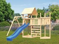 Akubi Spielturm Lotti Satteldach + Schiffsanbau oben + Anbauplattform + Einzelschaukel + Kletterwand + Rutsche in blau