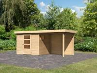 Karibu Woodfeeling Gartenhaus Oburg 3 natur mit Anbaudach 2,4 Meter inkl. Rückwand