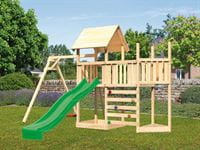 Akubi Spielturm Lotti Satteldach + Schiffsanbau oben + Anbauplattform + Einzelschaukel + Kletterwand + Rutsche in grün