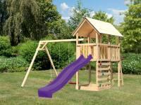 Akubi Spielturm Danny Satteldach + Rutsche violett + Doppelschaukel + Kletterwand