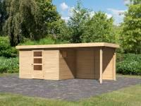 Karibu Woodfeeling Gartenhaus Oburg 4 natur mit Anbaudach 2,8 Meter inkl. Rückwand