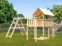 Akubi Spielturm Danny Satteldach + Doppelschaukel Klettergerüst + Anbauplattform
