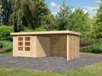 Karibu Woodfeeling Gartenhaus Askola 3,5 mit Anbaudach 2,8 m mit Lamellenwänden