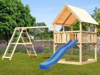 Akubi Spielturm Luis Satteldach + Rutsche blau + Doppelschaukelanbau Klettergerüst