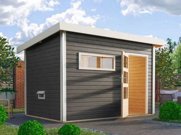 Karibu Aktionssaunahaus Erik 2 38 mm mit 9 kW Ofen ext. Strg. terragrau