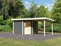 Karibu Woodfeeling Gartenhaus Neuruppin 3 terragrau mit Anbaudach