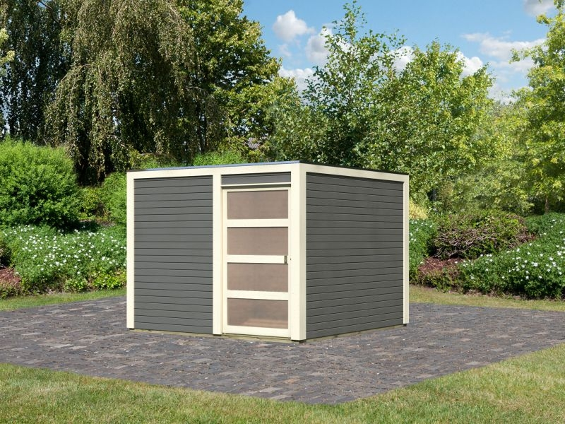 Karibu Gartenhaus Bolton 2 terragrau inkl. Fußboden