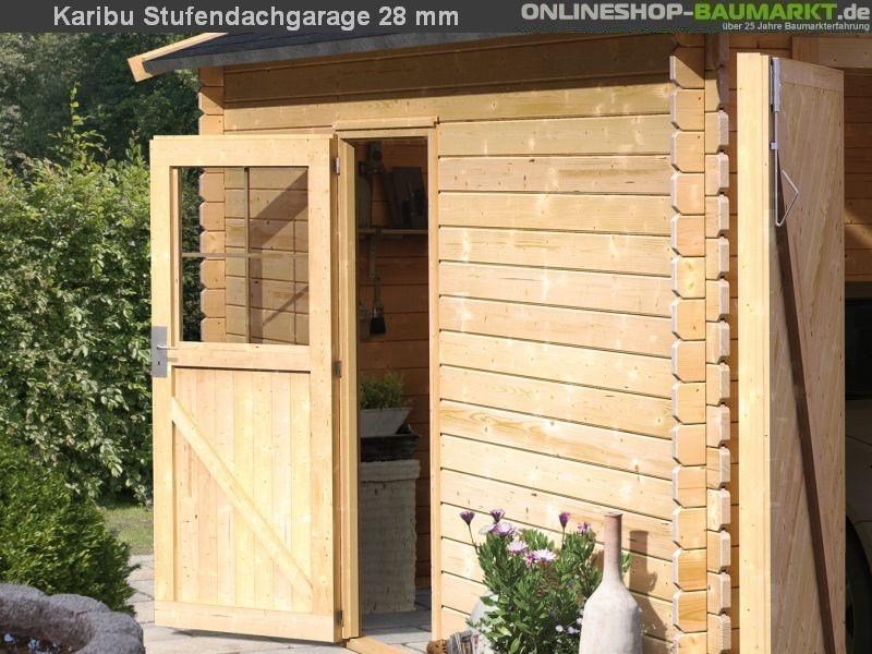 karibu blockbohlengarage stufendach 28 mm natur sch nes karibu blockbohlengarage mit. Black Bedroom Furniture Sets. Home Design Ideas