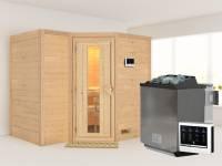 Karibu Sauna Sahib 2 inkl. 9-kW-Bioofen mit externer Steuerung, ohne Dachkranz, mit energiesparender Saunatür