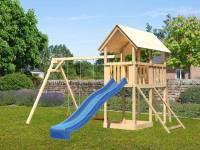 Akubi Spielturm Danny Satteldach + Rutsche blau + Doppelschaukel + Kletterwand
