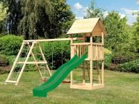 Akubi Spielturm Lotti mit Rutsche in grün und Doppelschaukel inkl. Klettergerüst