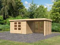 Karibu Woodfeeling Gartenhaus Askola 5 mit Anbaudach 2,8 m, Lamellenwände